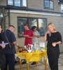 Gink, Torallion, Quark and Avn tuck into burgers and hotdogs